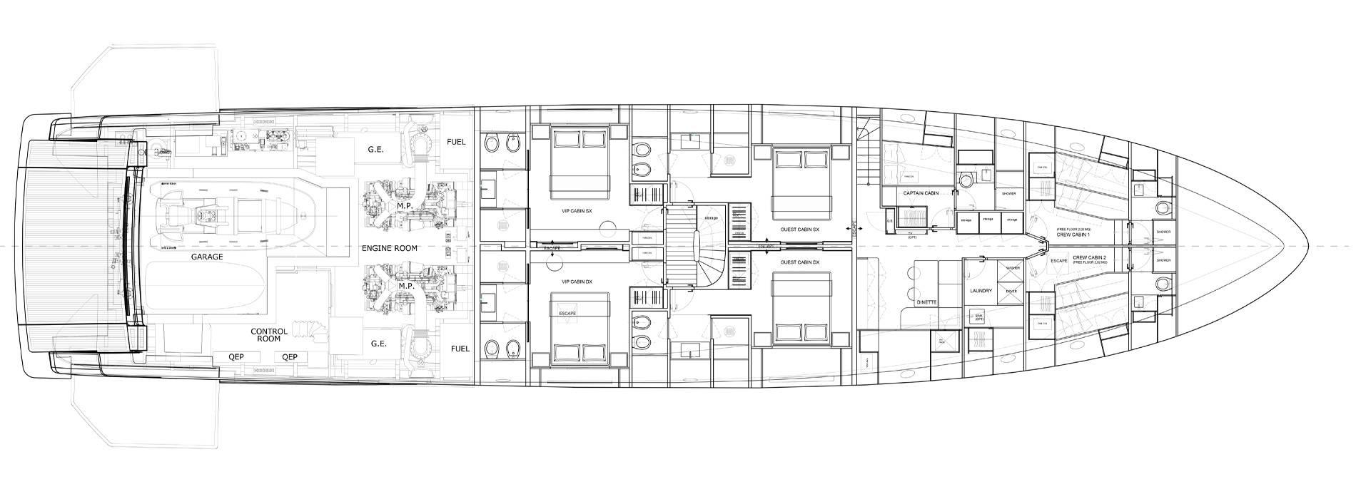 Sanlorenzo Yachts SD118 Cubierta inferior