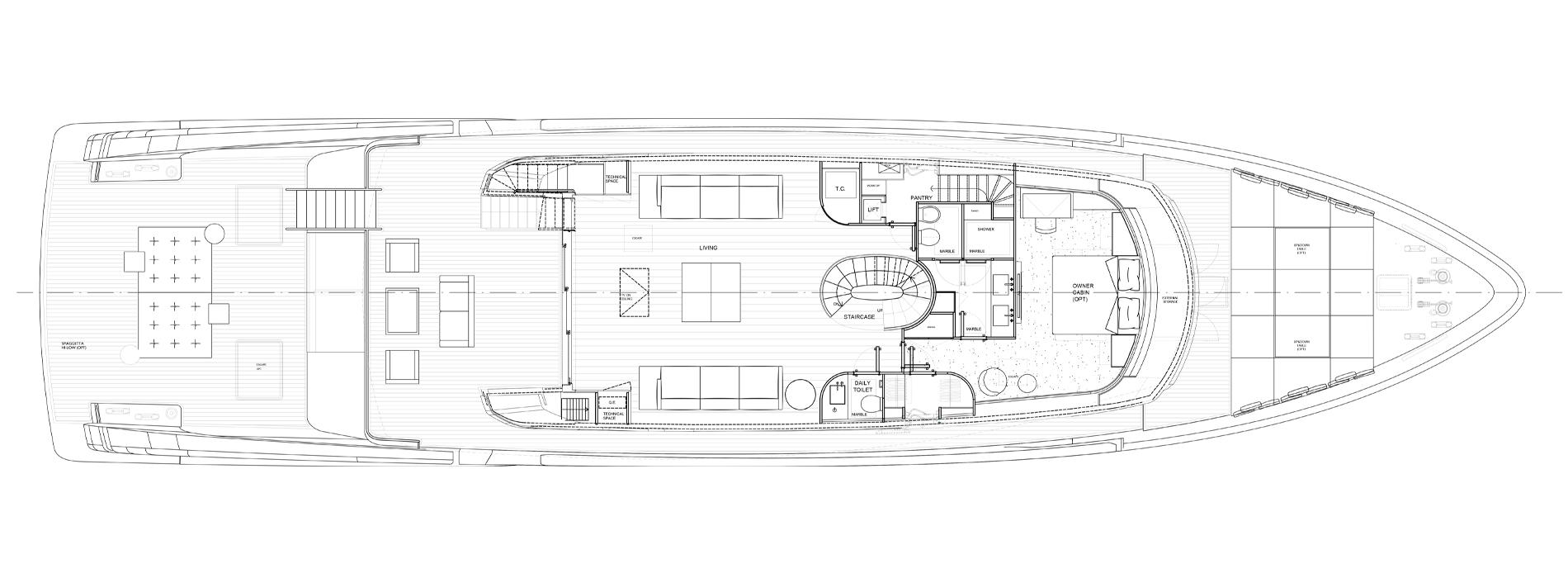 Sanlorenzo Yachts SX112 Cubierta principal versión C