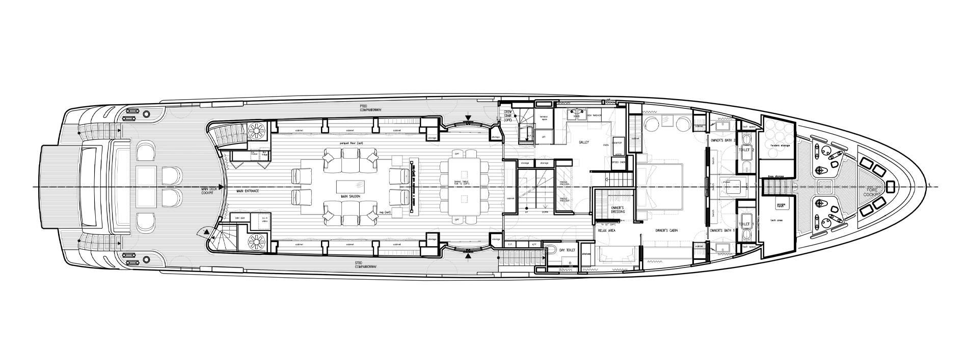 Sanlorenzo Yachts SD122-127 Cubierta principal
