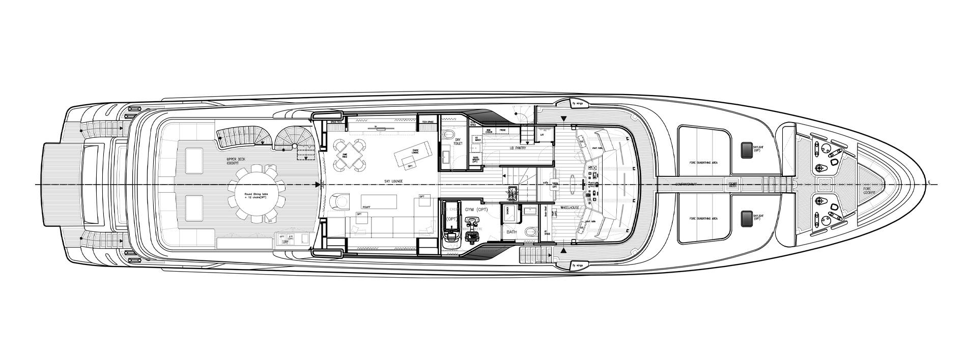 Sanlorenzo Yachts SD122-127 Cubierta superior