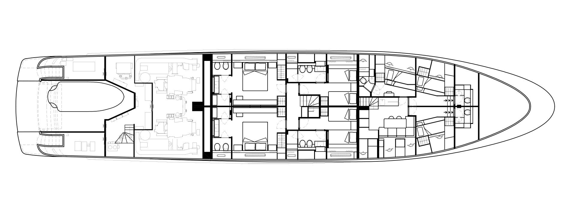 Sanlorenzo Yachts SD126 Cubierta inferior Versione A