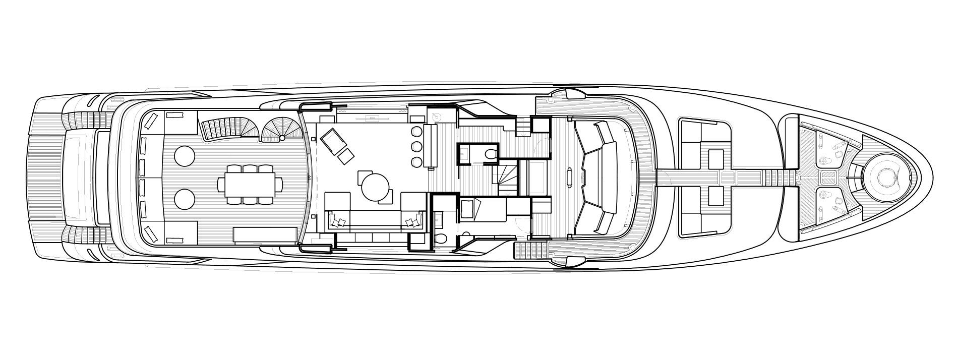 Sanlorenzo Yachts SD126 Cubierta superior Versione B