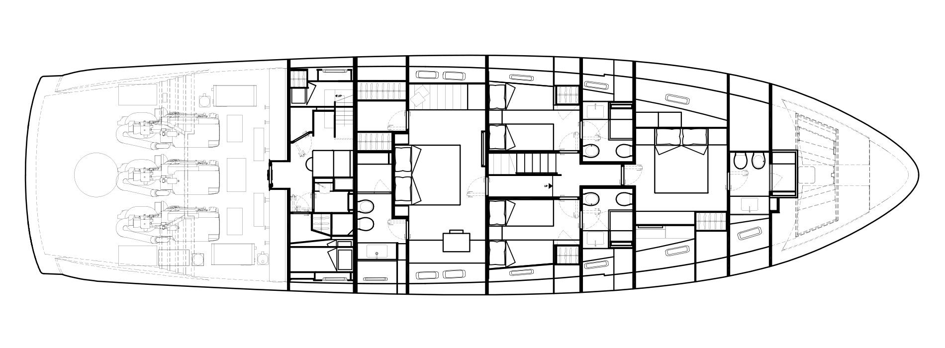 Sanlorenzo Yachts SX88 Cubierta inferior Versione USA