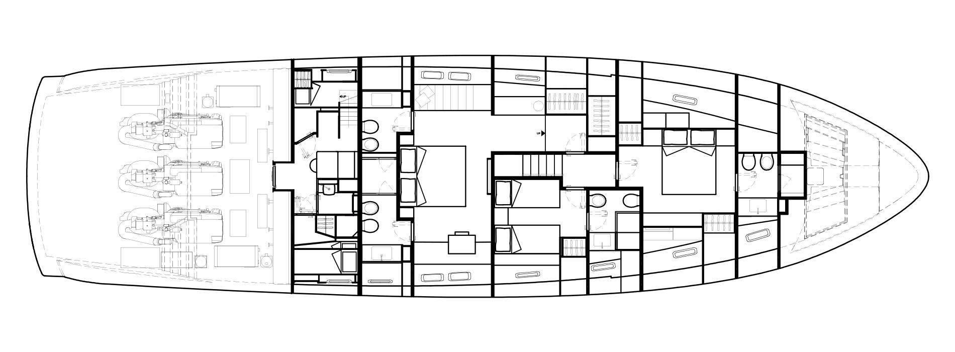 Sanlorenzo Yachts SX88 Cubierta inferior Versione B